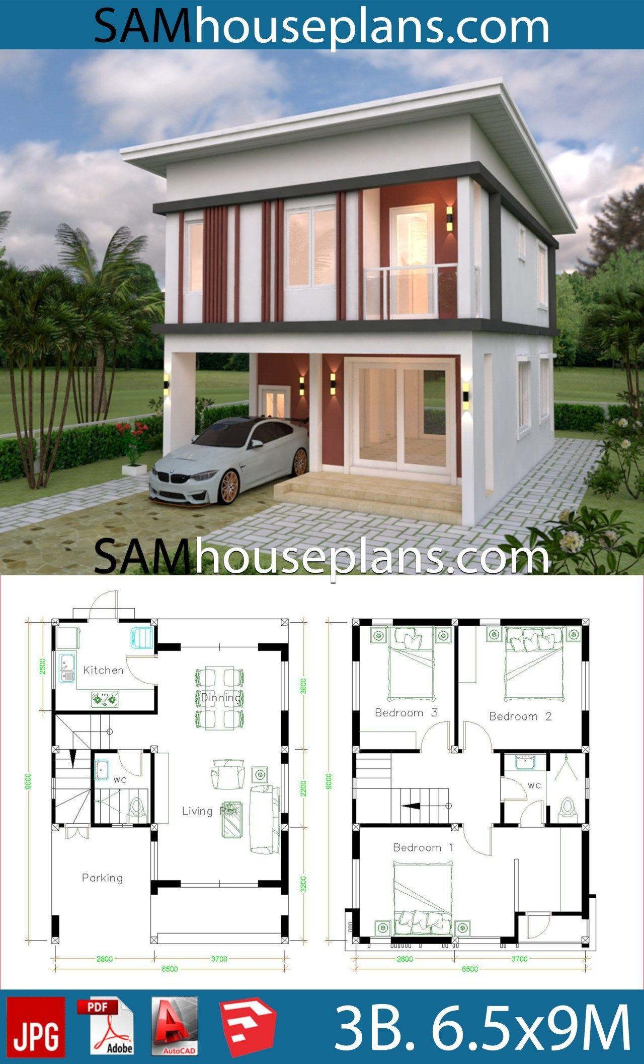 House Plans 6 6x9 With 3 Bedrooms Flat Roof Sam House Plans Flat Roof House House Plans Model House Plan