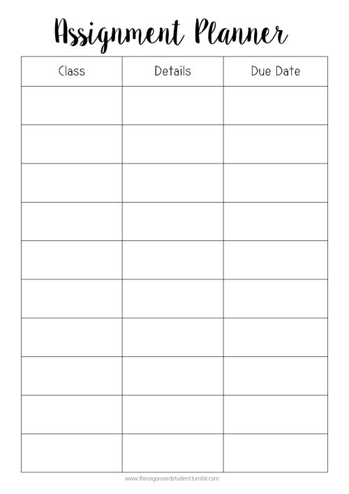 Pin by karen on Organizer School planner, Assignment planner