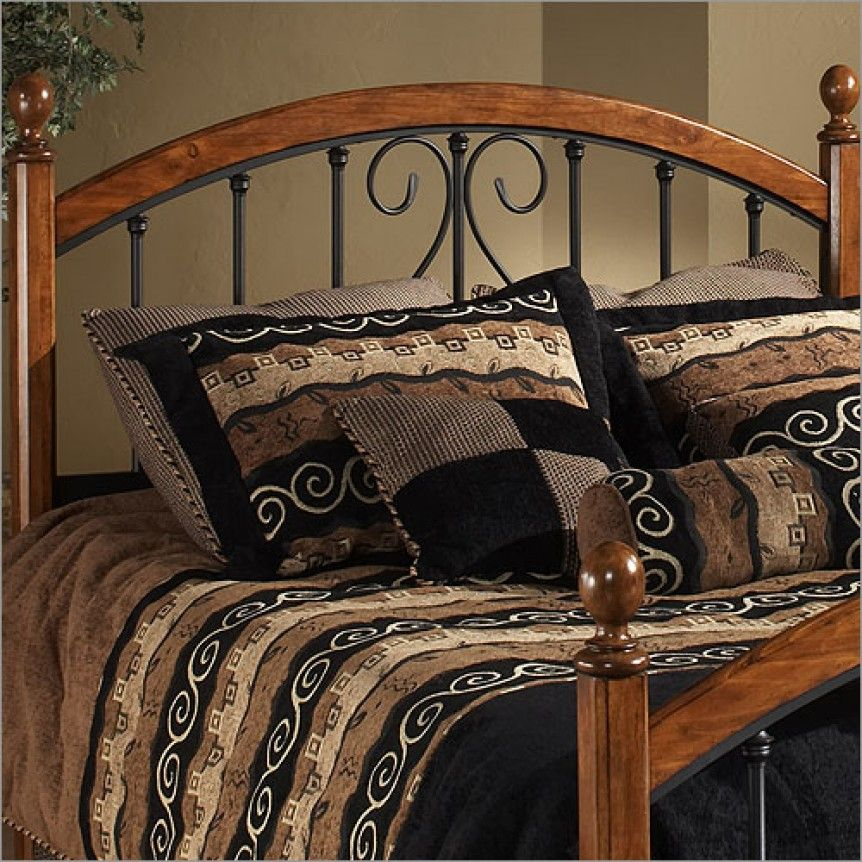 Cherry Wood And Black Metal Bed