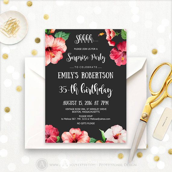 Surprise Birthday Party Invitations Printable Hibiscus Tropical Hawaii 35th Invites INSTANT