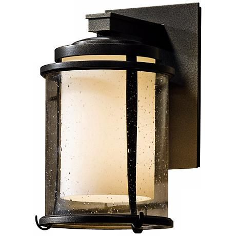 Hubbardton forge meridian 10 14 high outdoor wall light style a cylinder of opal glass glows warmly behind seedy glass in this u hand forged outdoor wall light design by hubbardton forge style at lamps plus aloadofball Image collections