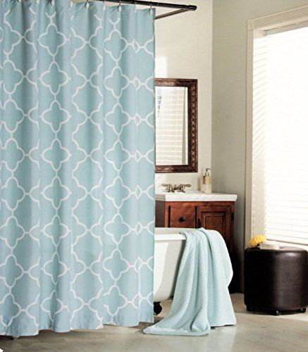 Max Studio Home 100 Percent Cotton Shower Curtain Moroccan Tile Quatrefoil Light Turquoise Aqua White