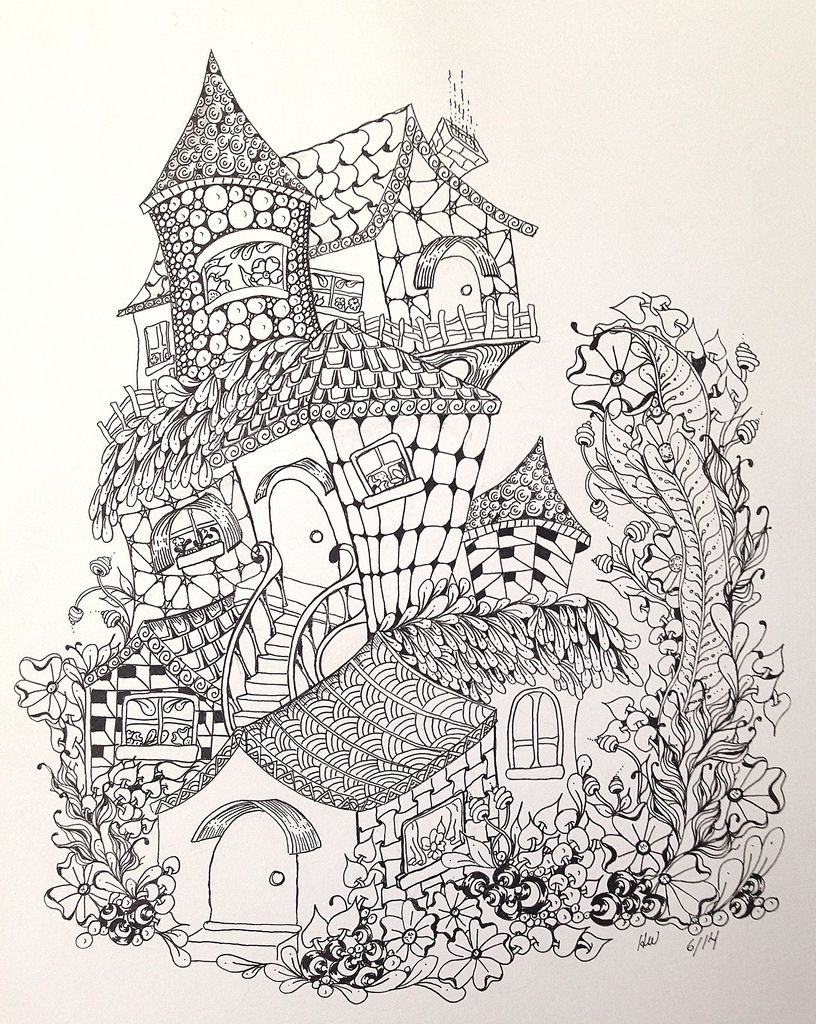 Zentangleinspired fairy houses adult coloring pagesideas