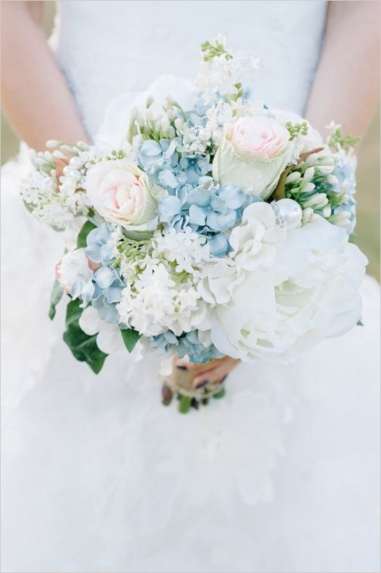 Blue And Ivory Shabby Chic Wedding | White bridal, Bridal bouquets ...
