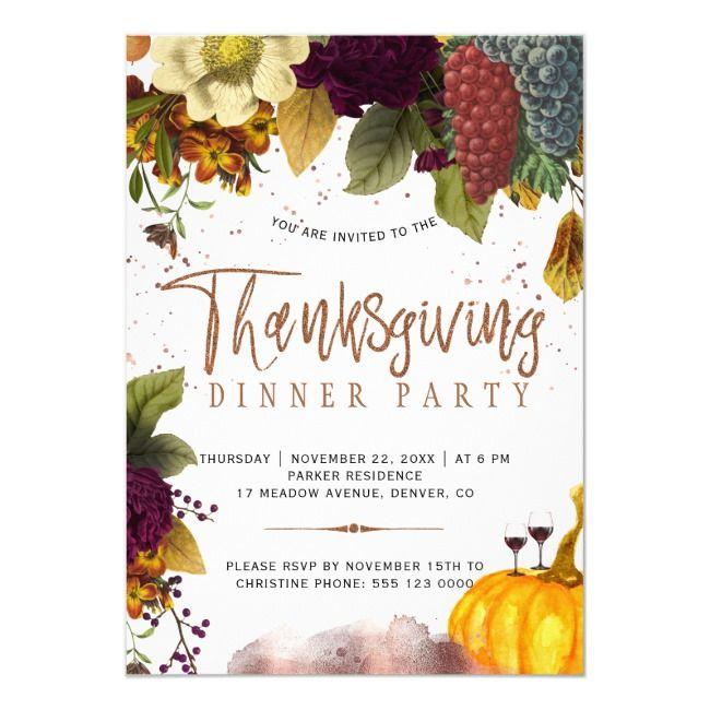 Rustic modern harvest Thanksgiving dinner party Invitation