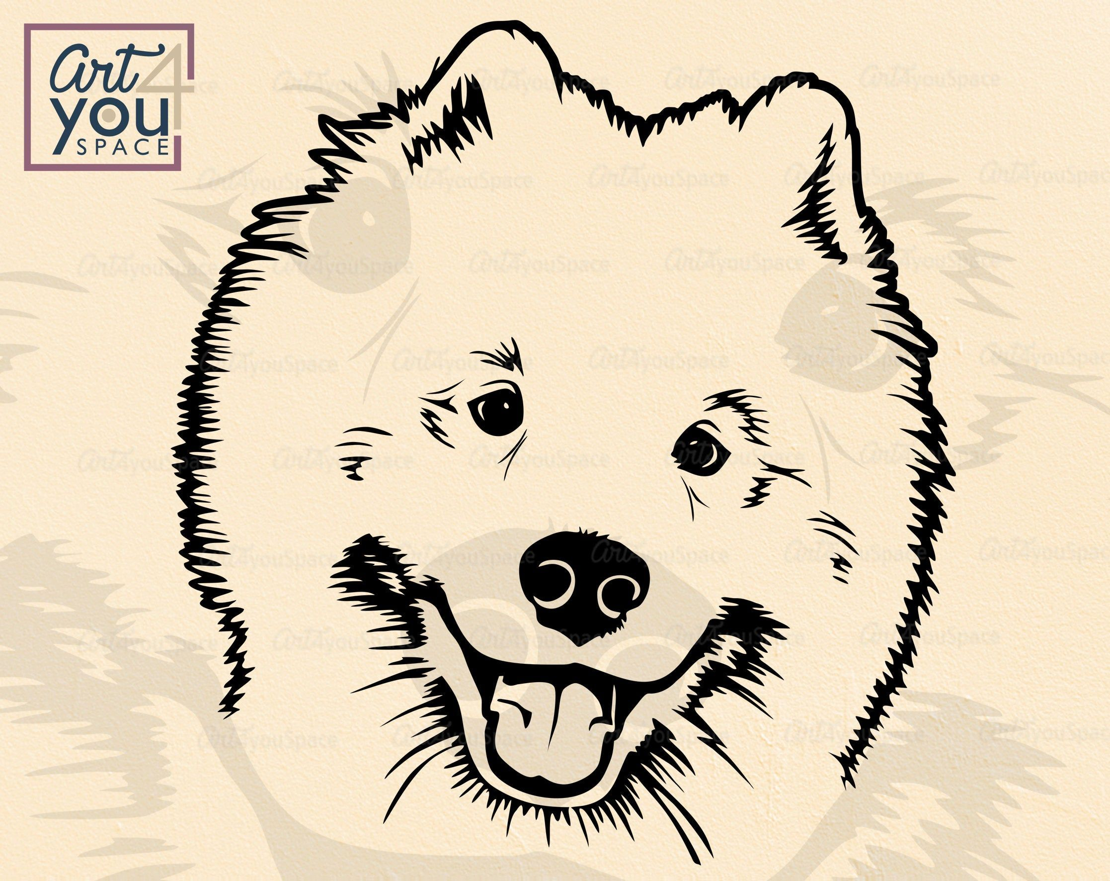 Samoyed Svg Dog Svg Files For Cricut Breed Funny Face Head