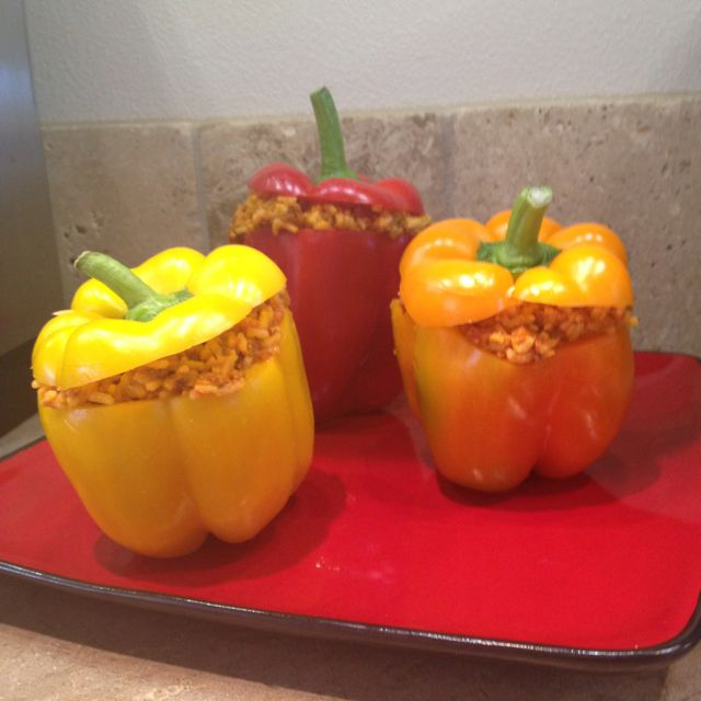Chorizo Stuffed Peppers Peppers 1lb chorizo 2cups rice 1/2cup salsa Cheese-cheddar or pepper jack Mix all above, stuff in peppers, bake or steam for 40mins and ENJOY:)