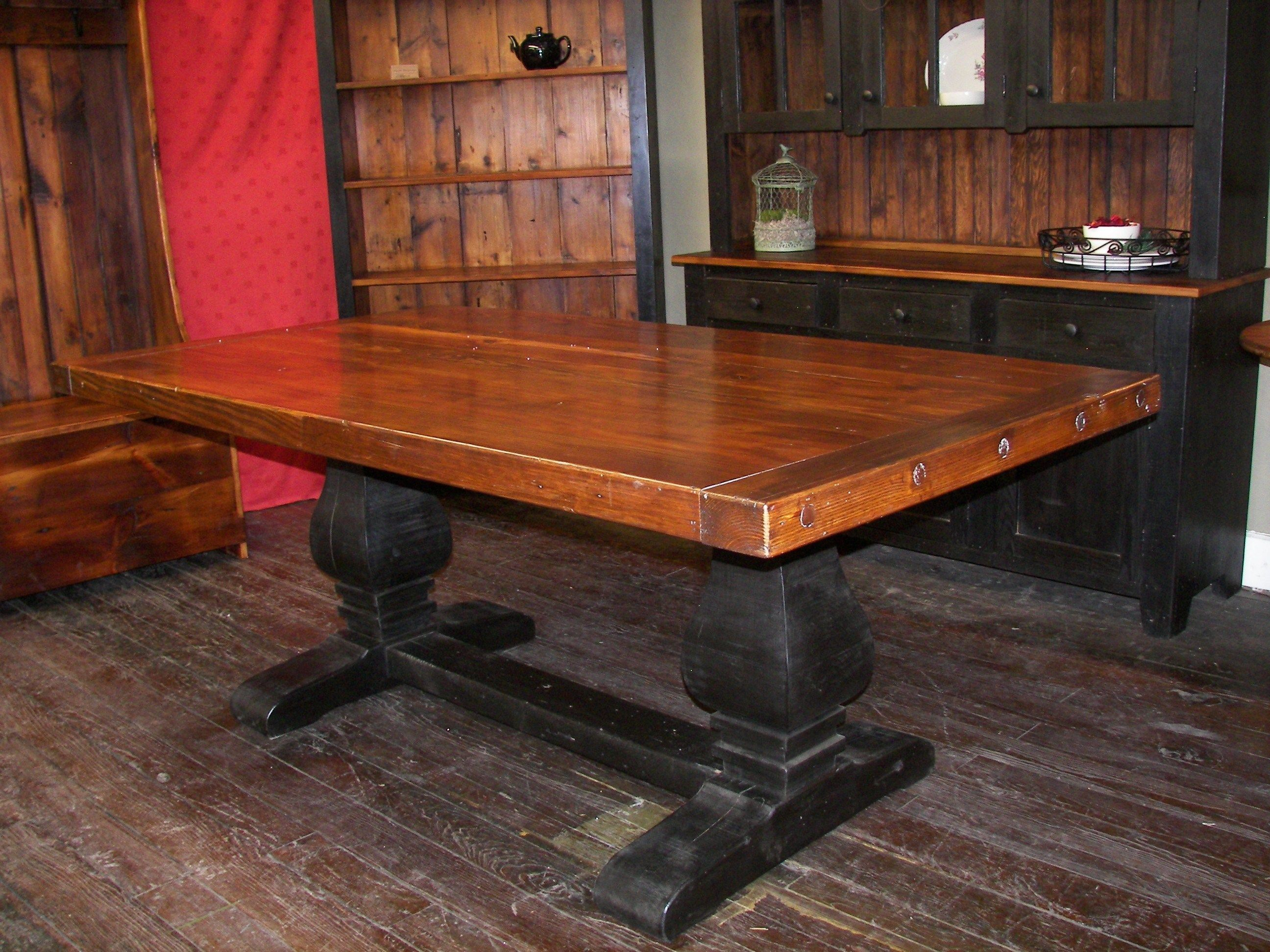 Reclaimed barn wood pear pedestal trestle table with 3\