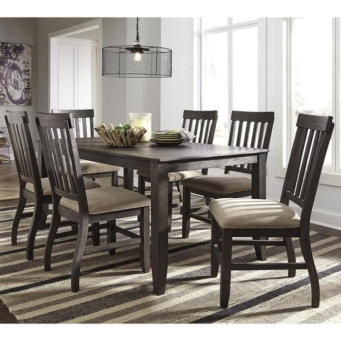 Dresbar 7 Piece Dining Set In Grayish Brown