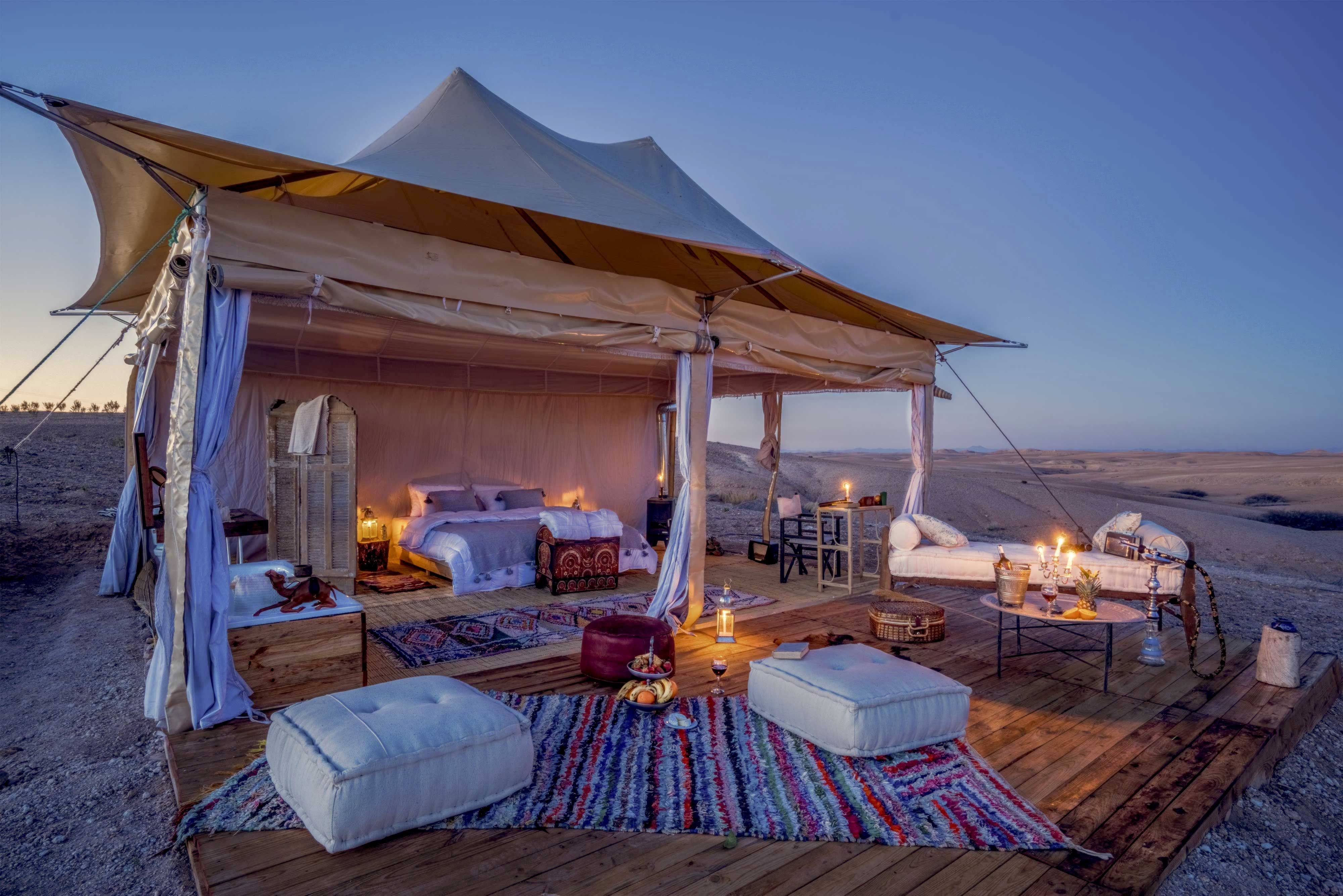 Embark On The Adventure Of A Lifetime And Stay In An Enchanting Desert Tent In The Agafay Desert Of Morocco Book Your Stay He Luxury Tents Tent Luxury Camping