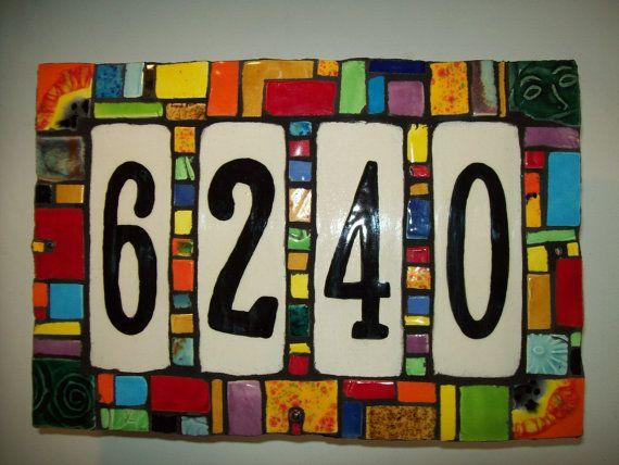 Handmade Ceramic House Number Address Tile by CustomTilesByRich
