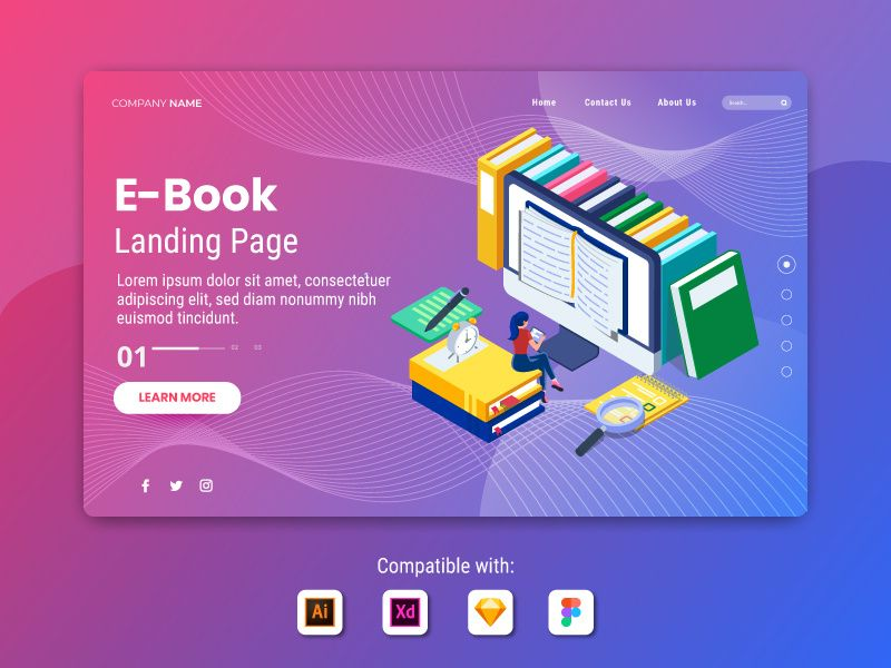 EBook Landing Page Illustration Template in 2020