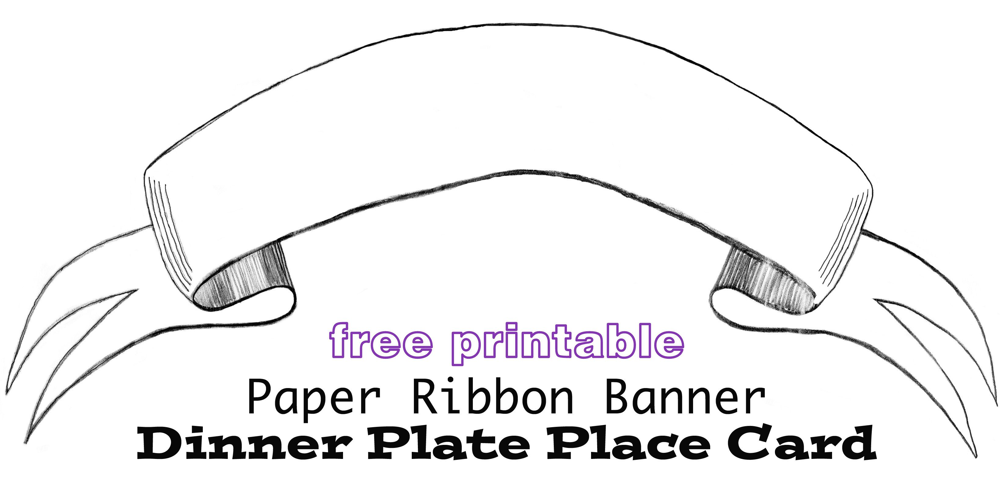 Printable Paper Banner Dinner Plate Place Card Printable Banner Template Free Printable Banner Printable Banner