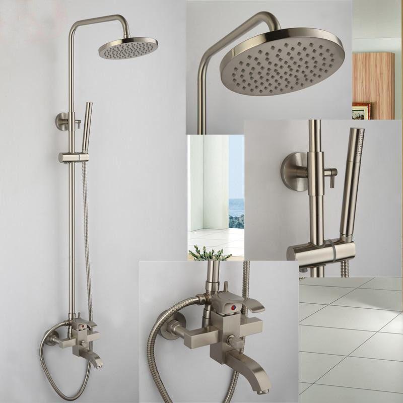 127 Brushed Nickel 8 Rain Shower Faucet System Tub Mixer Tap