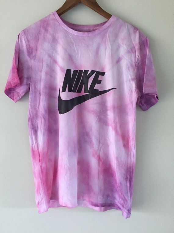 a5bc726bf2a3 Psychedelic 90s Pastel Pink Purple Tie Dye NIKE tick Tee / T shirt ...