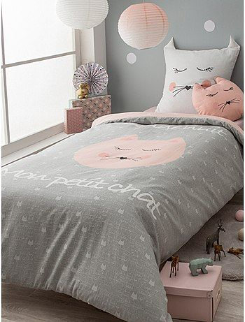 parure de lit 1 personne 39 petit chat 39 taupe rose linge de lit kiabi pour karo pinterest. Black Bedroom Furniture Sets. Home Design Ideas