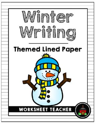 Winter Writing Themed Lined Paper Set Writing Paper Sets - lined paper for writing