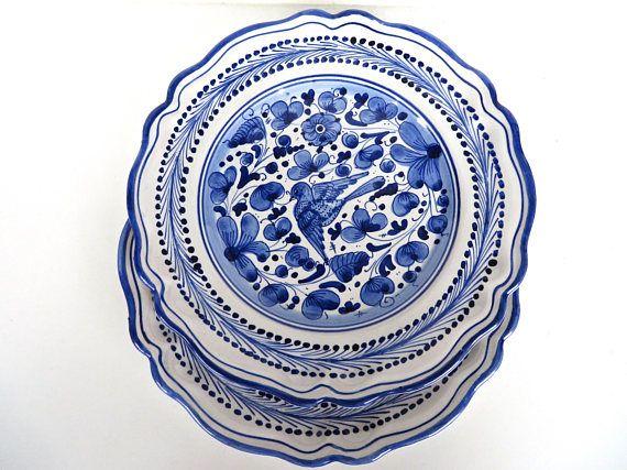 Set Of 2 Deruta Blue Bird Plates, Vintage Blue And White Italian ...