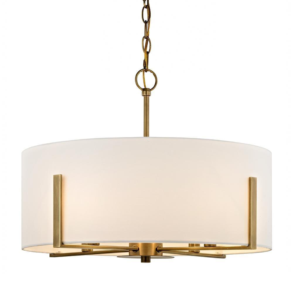 Fifth And Main Lighting Manhattan 4 Light Aged Brass Pendant