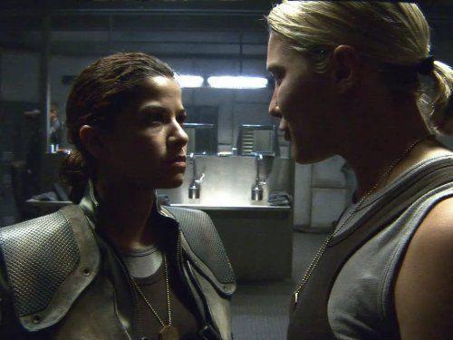 Still of Katee Sackhoff and Luciana Carro in Battlestar Galactica (2004)