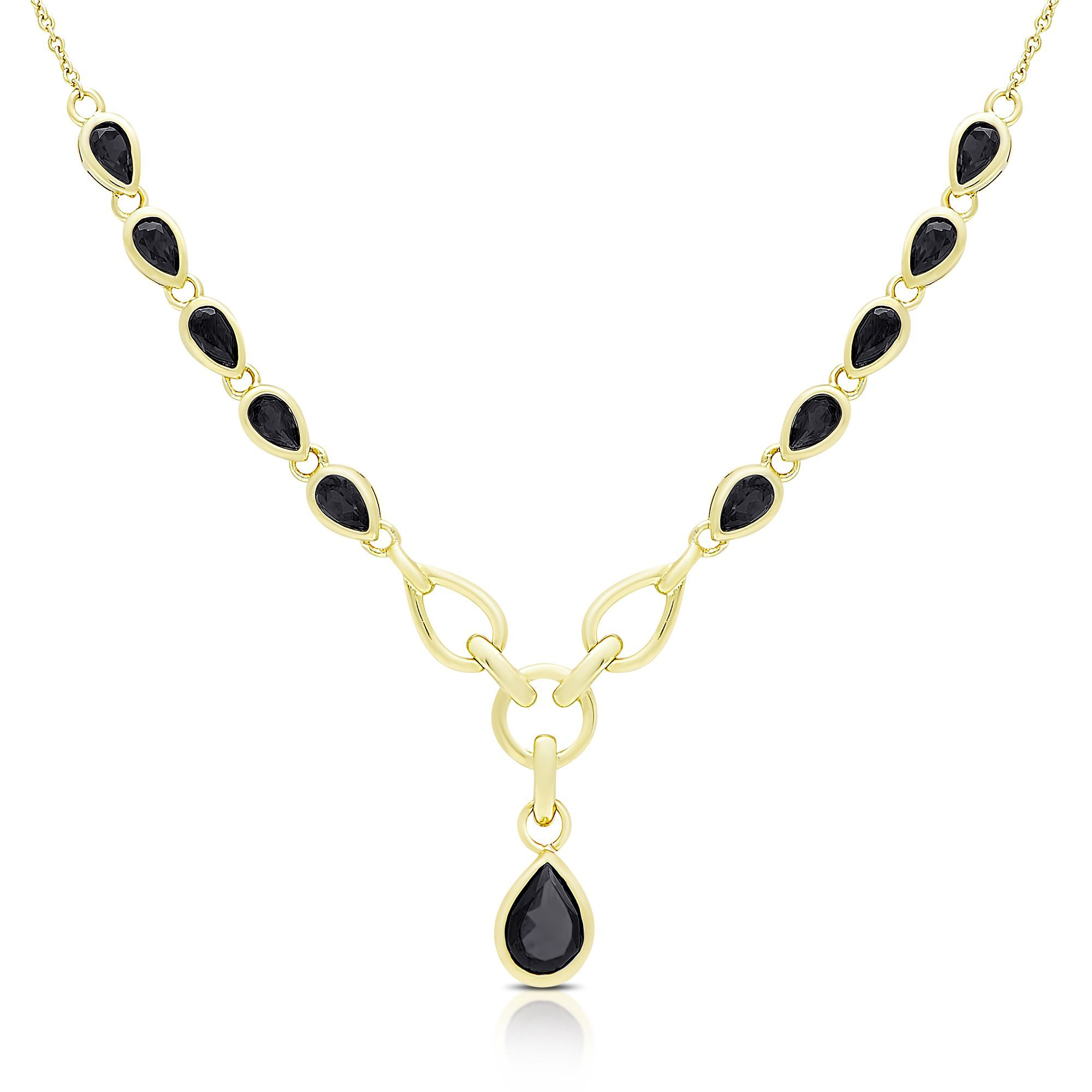 Dolce giavonna gold over silver sapphire teardrop necklace osn