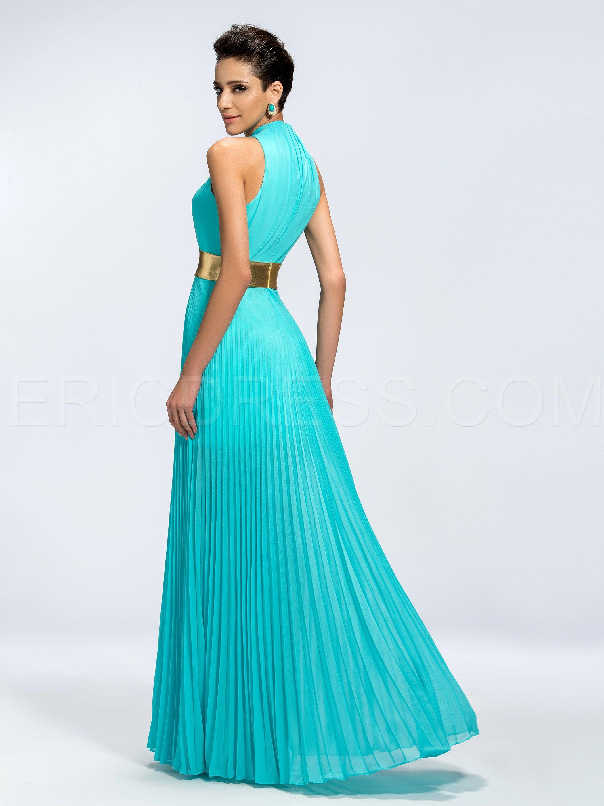 Classy vogue aline splitfront evening dress
