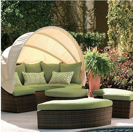 Outdoor Wicker Sofa Set Round With Canopy