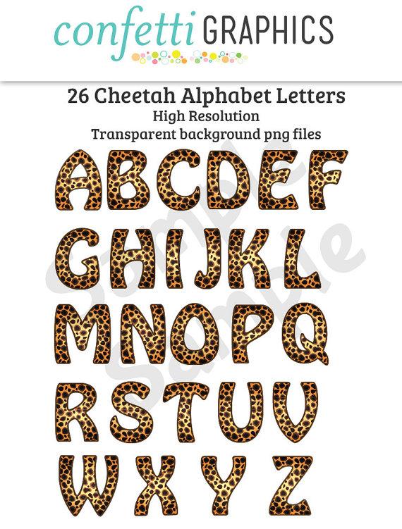 Cheetah Leopard Animal Print Alphabet Letters On A Transparent
