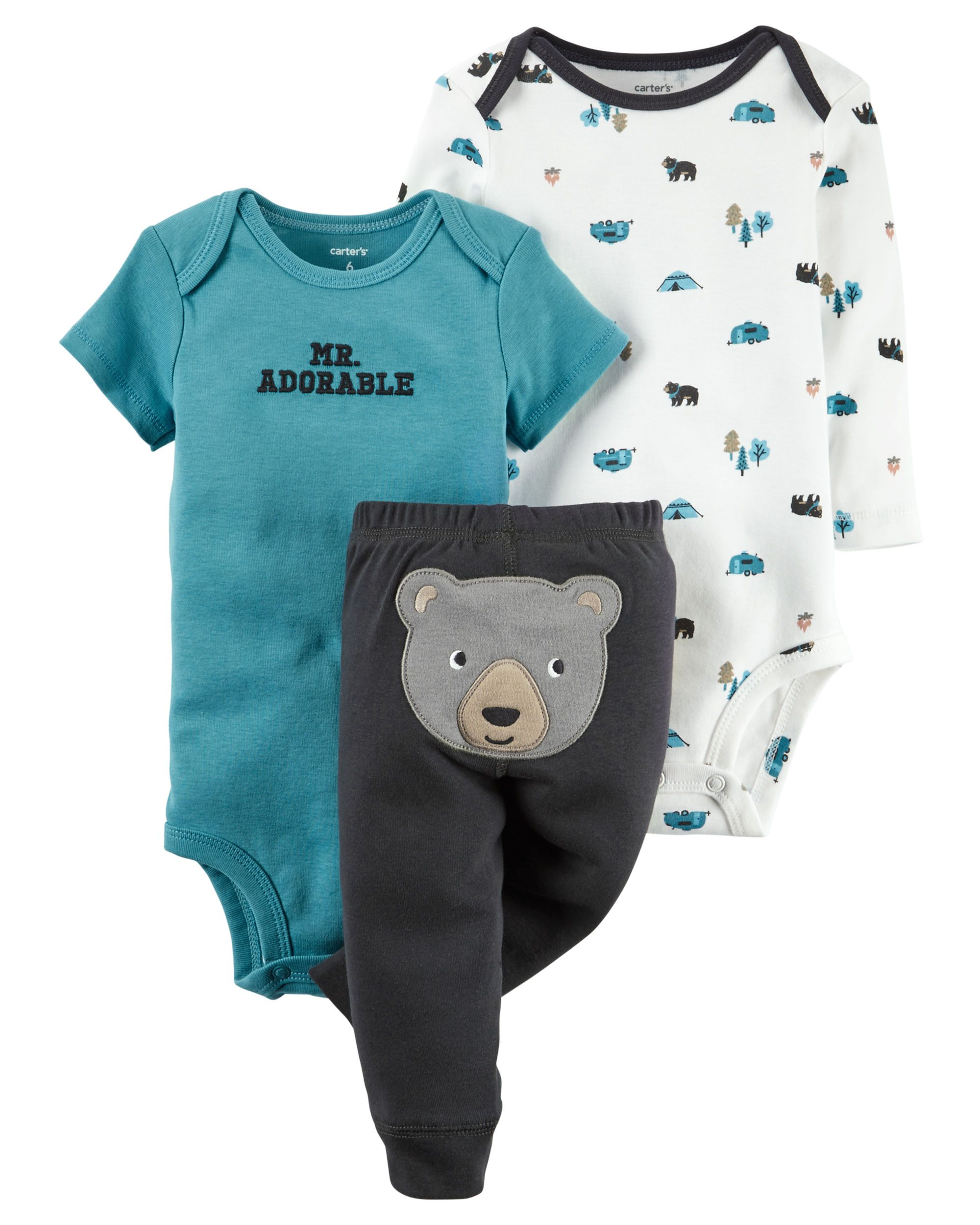 10b4450e9 Featuring a cute little bear on the bottom and two coordinating bodysuits,  this babysoft cotton set lets him mix and match with essential pants.