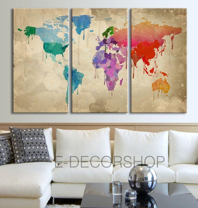 Large wall art canvas retro world map print 3 panel canvas art large wall art canvas retro world map print 3 panel canvas art print colorful watercolor world map gumiabroncs Choice Image