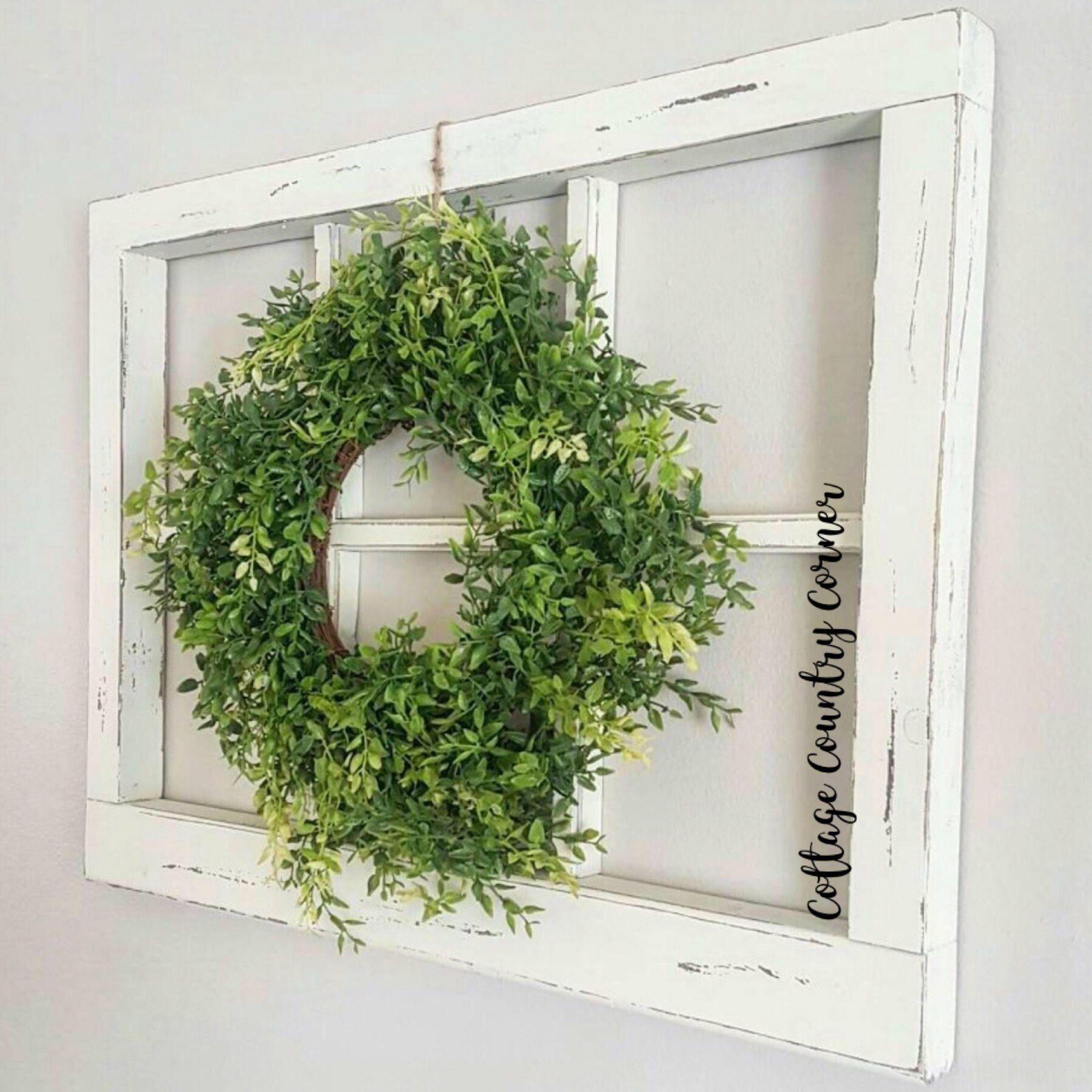 6 Pane Window Frame Wreath Google Search Rustic Window Frame Frame Wall Decor Window Frame Decor