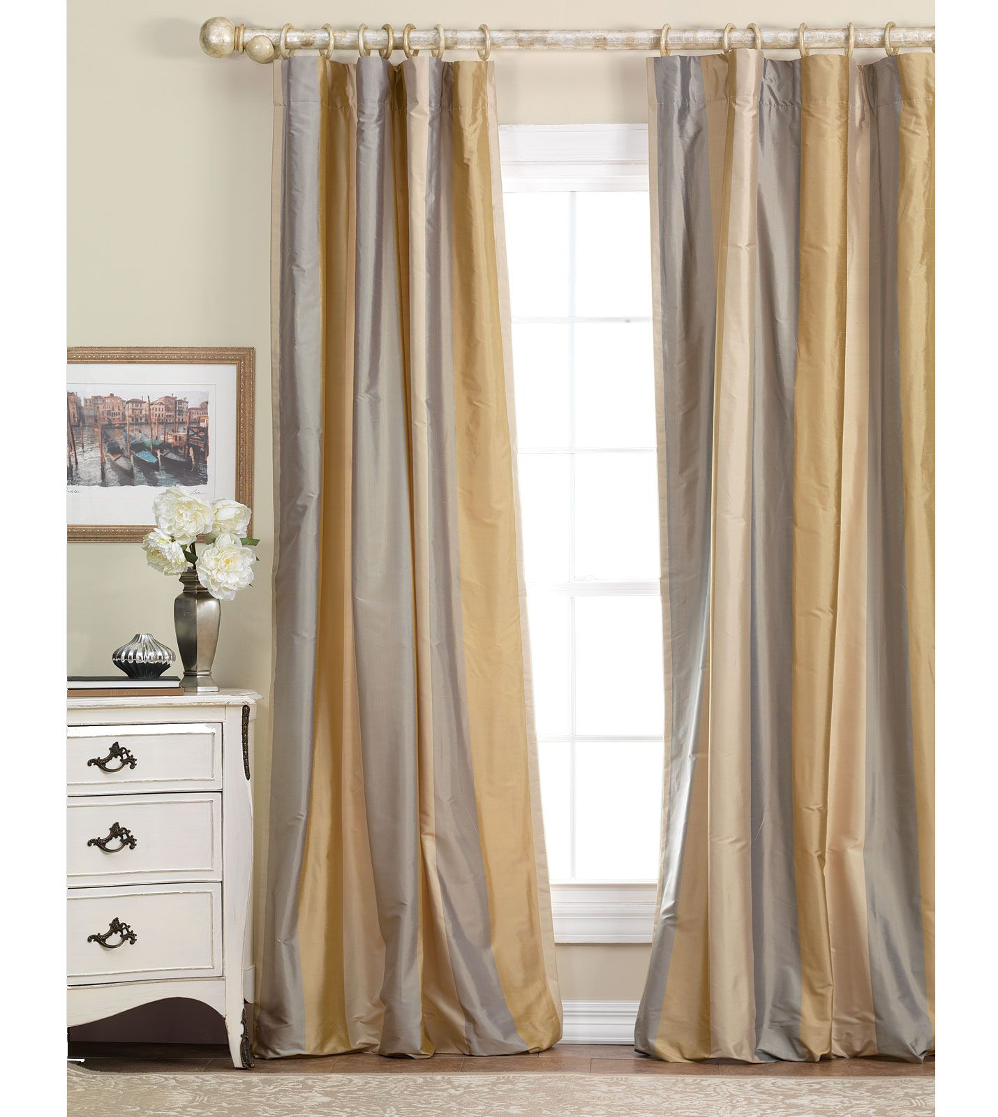Gold And Gray Silk Curtains Luxury Bedding By Eastern Accents Memoir Silk Stripe Collection
