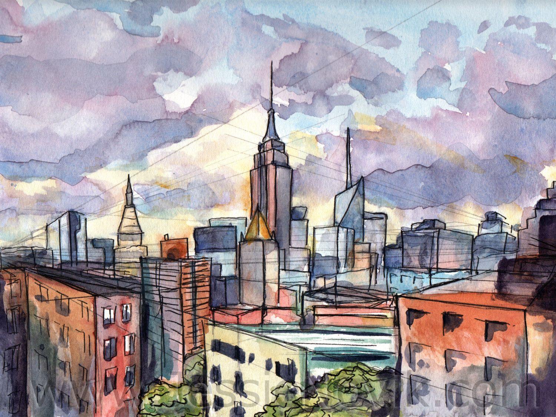 New York Watercolor Painting New York City Watercolor Print