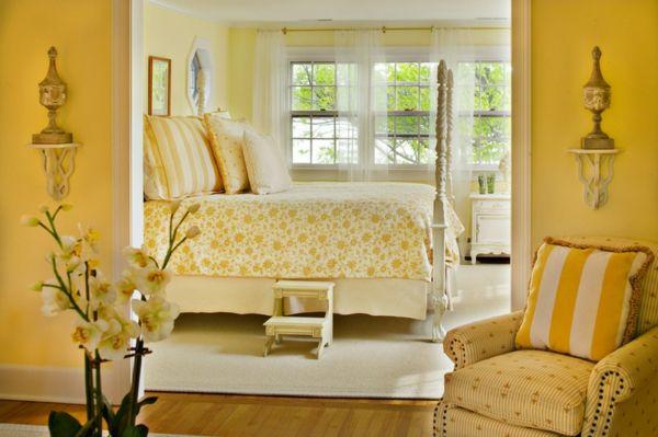 wandfarbe schlafzimmer wände streichen gelb Gelb - sommerliche