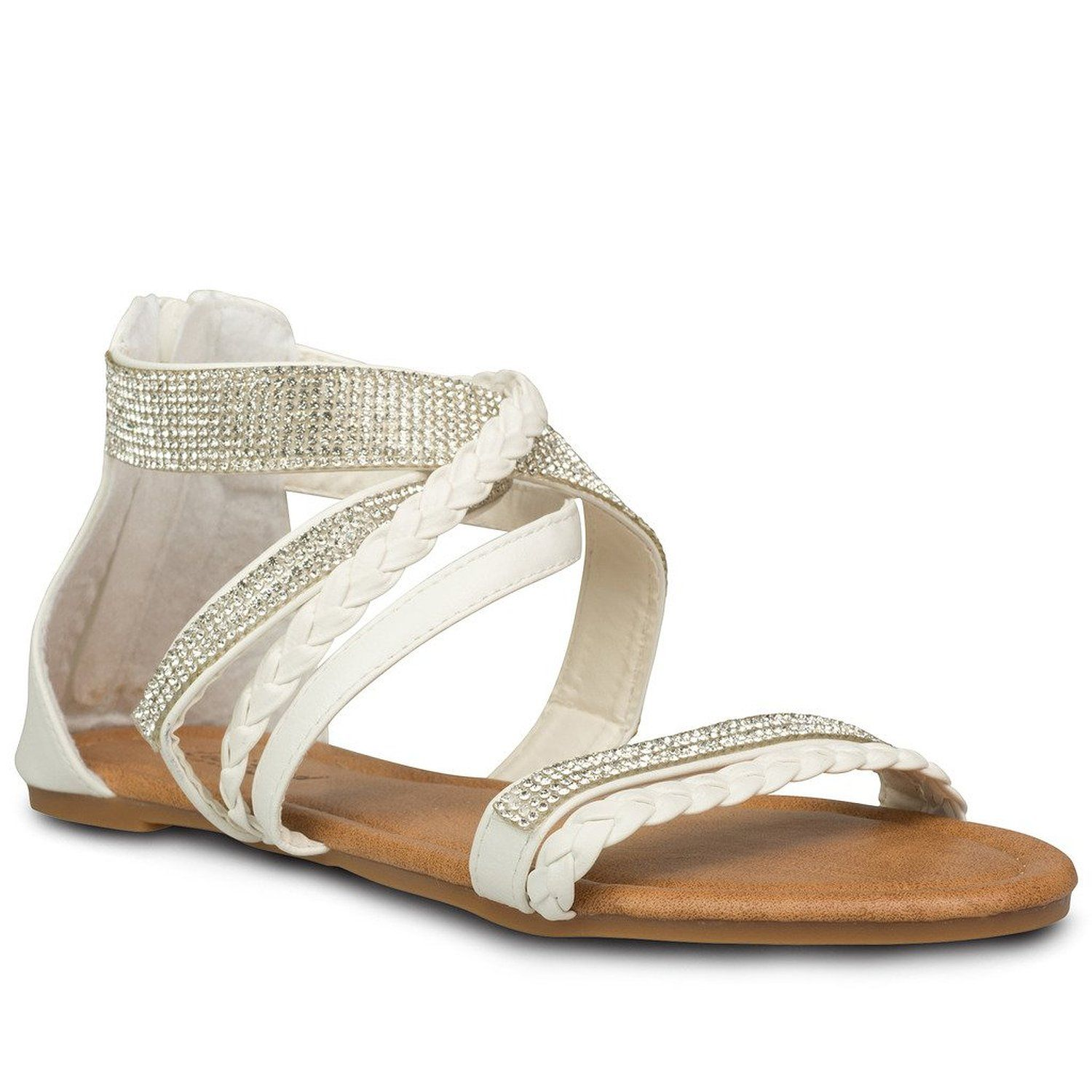 0f76fb7bb Amazon.com  Twisted Women s Daisy Faux Leather T-strap Sandal with Rhinestone  Accents  Clothing