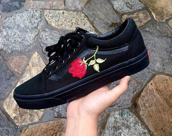 black vans with roses