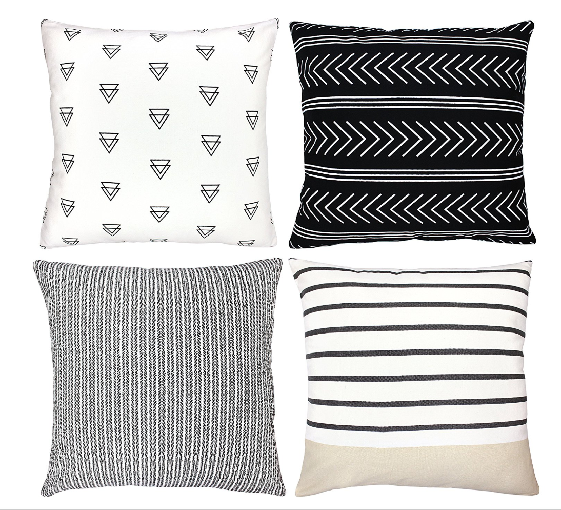 Black White Geo Print And Line Pattern Pillows Stylish Throw Pillows Decorative Throw Pillow Covers Pillow Covers