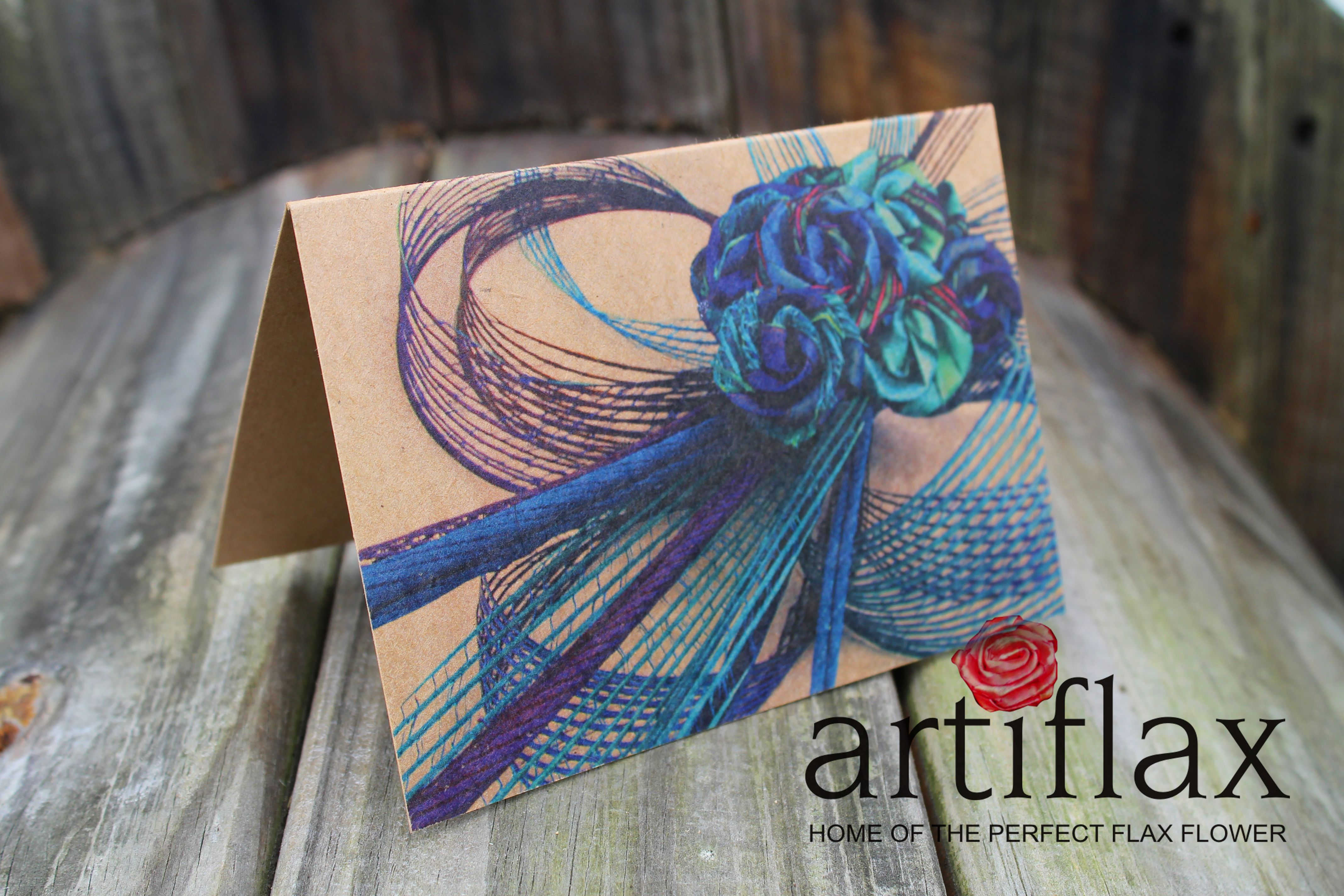 Paua Coloured Flax Flower Bouquet Blank Greeting Cards Designed And