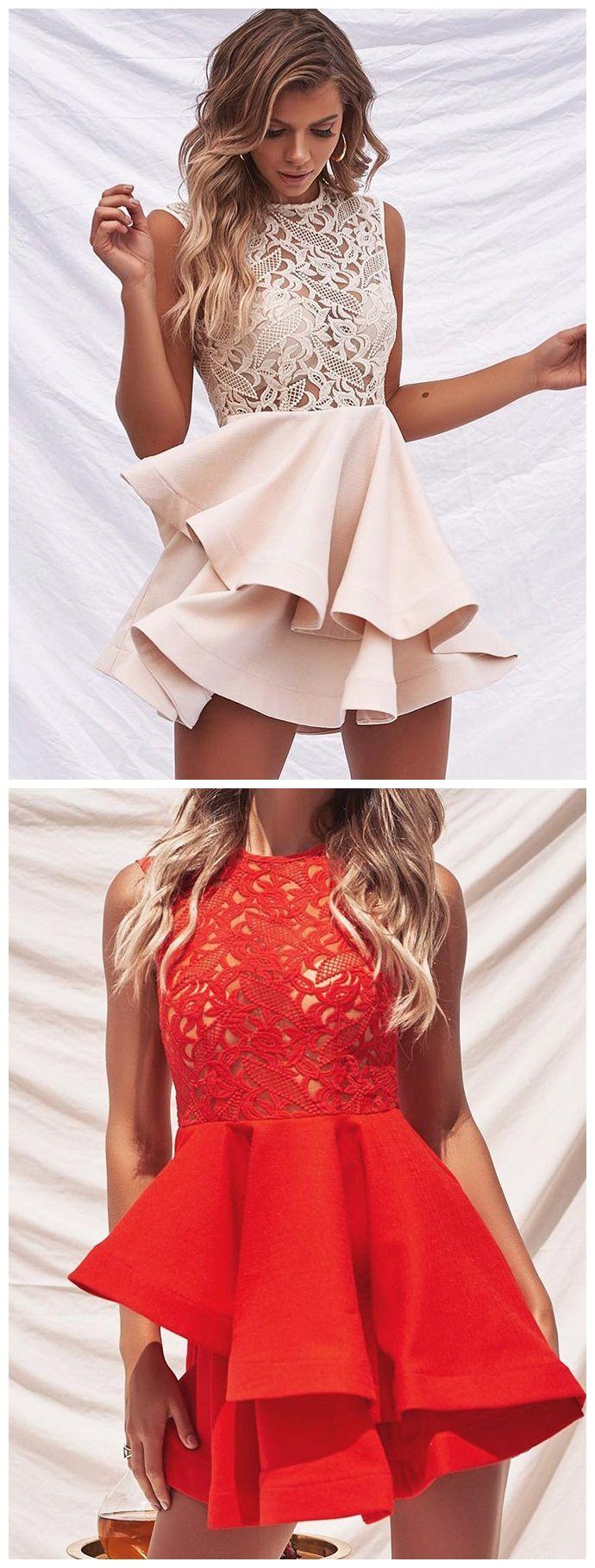 Short blush pink homecoming dresses lace top cute junior homecoming