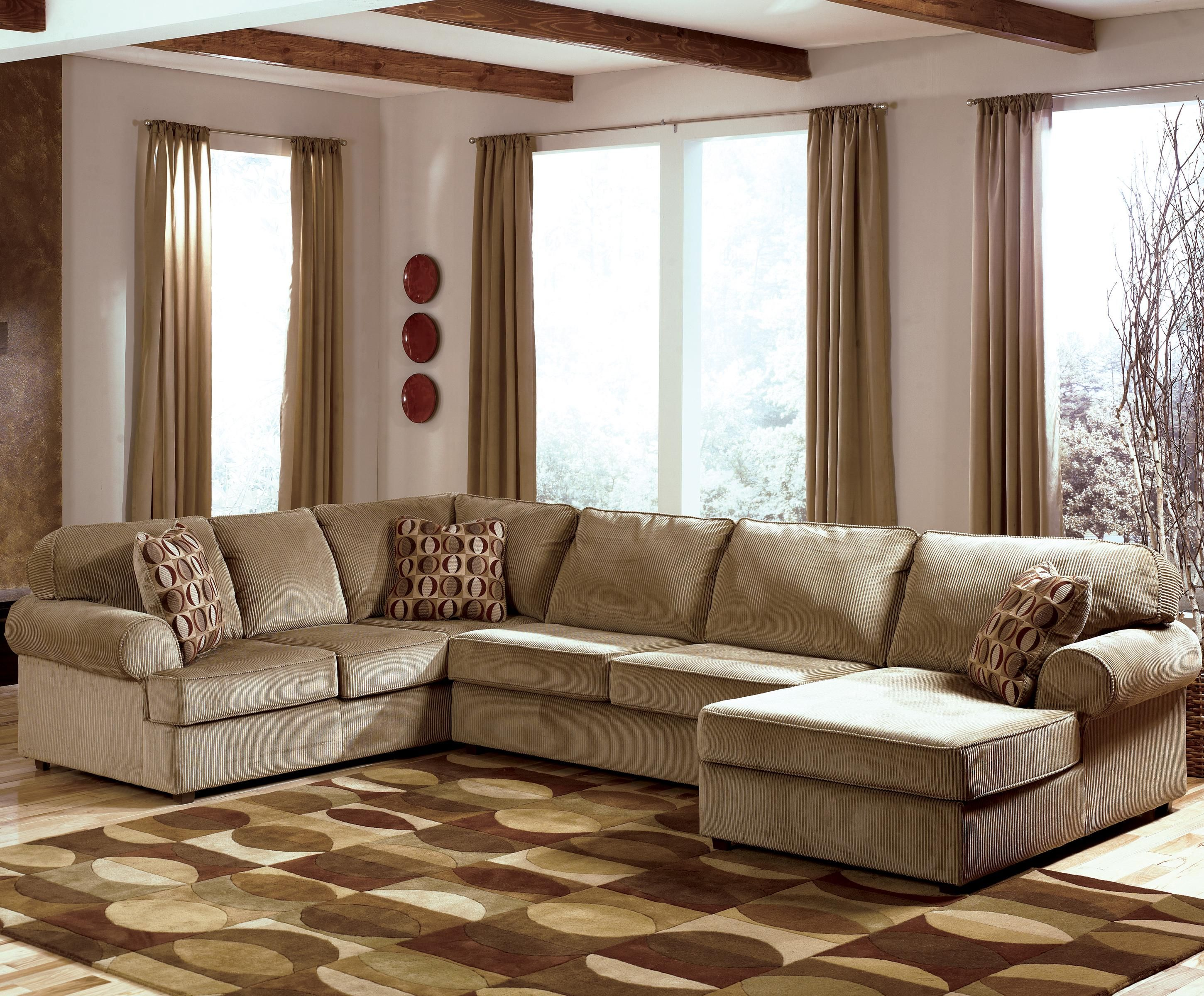 Vista - Cappuccino Casual 3-Piece Sectional with Right Chaise by Ashley Furniture - L : ashley furniture sectional with chaise - Sectionals, Sofas & Couches
