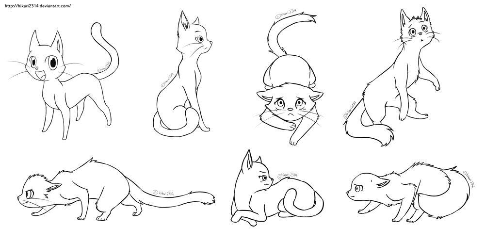 Free Cat Lineart by hikari2314.deviantart.com on