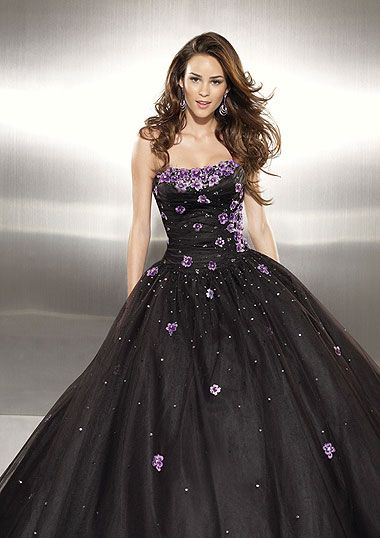 Black dress with purple flowers and straples top  ab2c21ae7