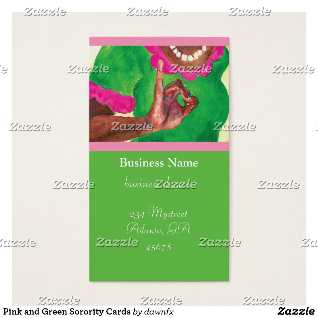 Pink and Green cutest biz Cards | Dear... Alpha Kappa Alpha ...