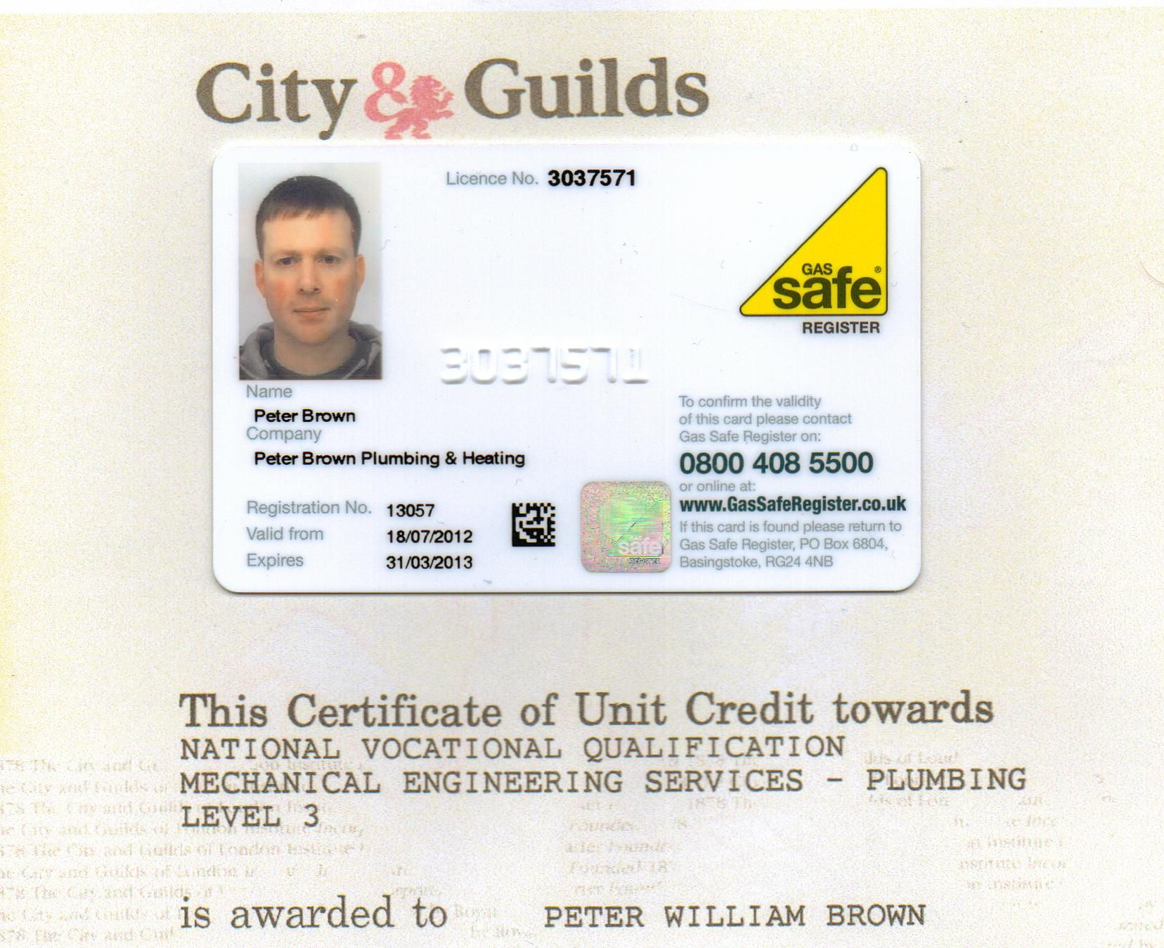 my gas safe id card nvq level 3 plumbing certificate