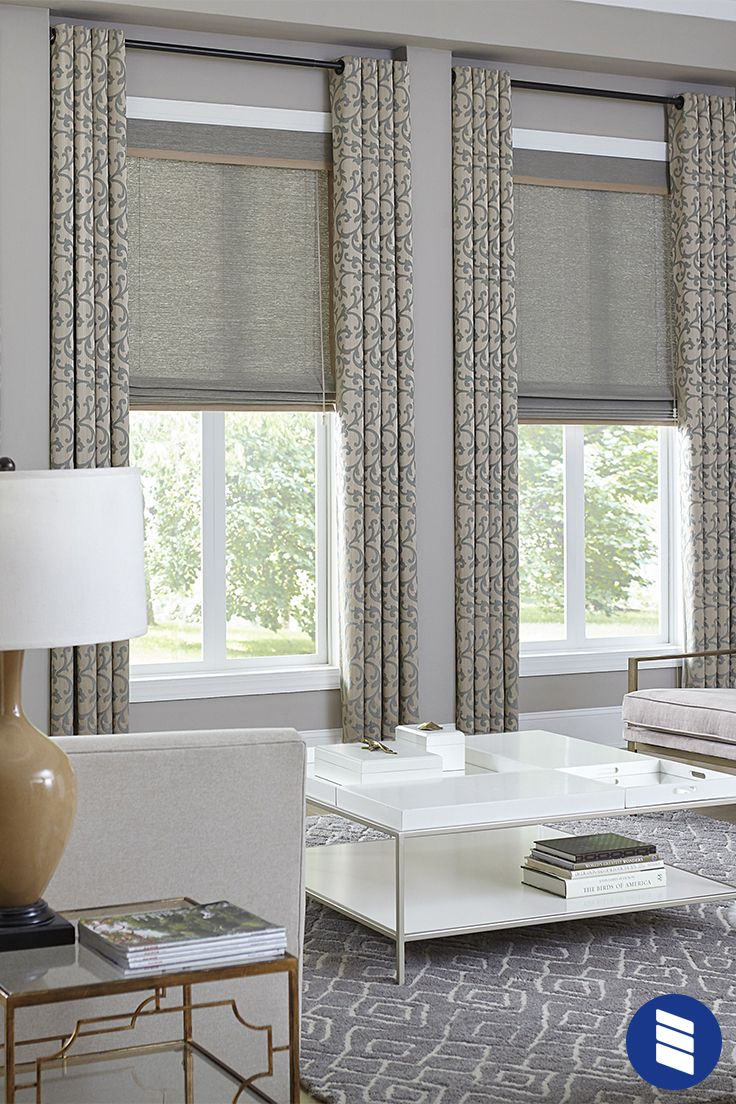 Give Living Room Windows Elegant Texture And Polished Style With Woven Wood Shades Living Room Decor Curtains Window Treatments Living Room Living Room Windows