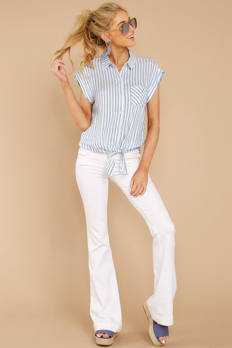 5e12fe66 Stylish Blue Striped Button Up - Flowy Short Sleeve Blouse - Top - $34 –  Red Dress Boutique