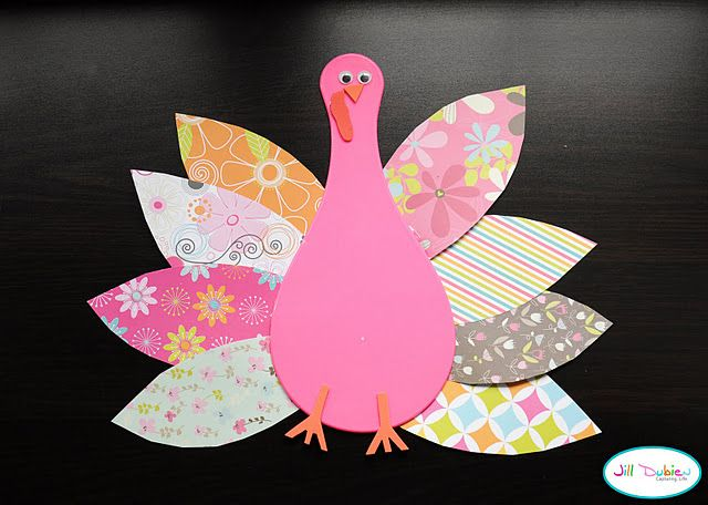 Turkey made out of patterned scrapbook paper. thanksgiving