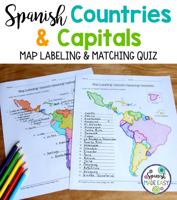 Spanish-Speaking Countries and Capitals Maps and Quiz | SPANISH ...