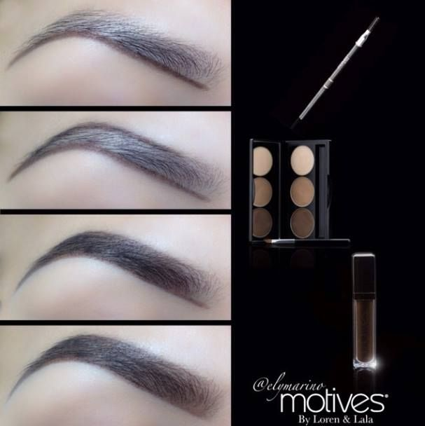 Creating the Perfect Brow #Motives Waterproof Eyebrow Pencil in Dark Brown, #Motives Essential Brow Kit #Motives Brow Perfecting Gel in Dark Brown