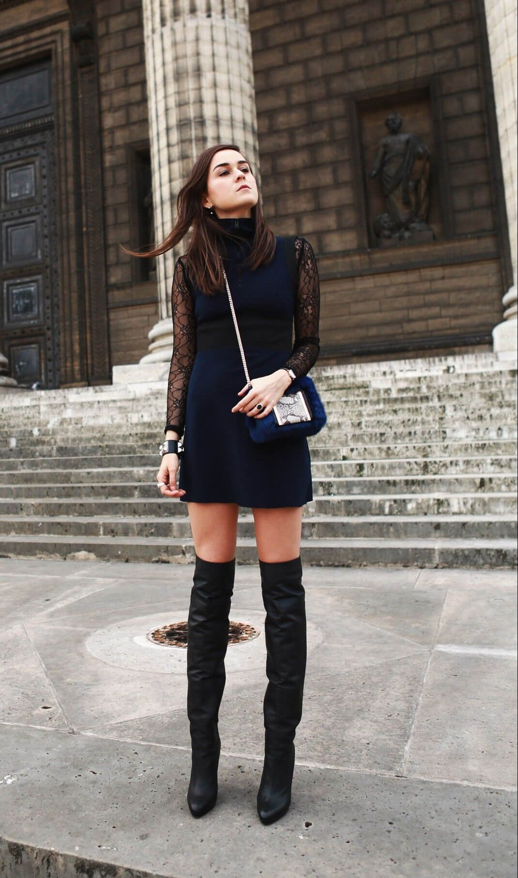 e811720331 how to style boots with dresses Knee High Boots, Over The Knee Boots, Navy